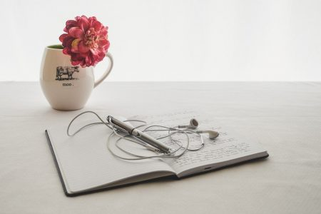 white, earbuds, journal