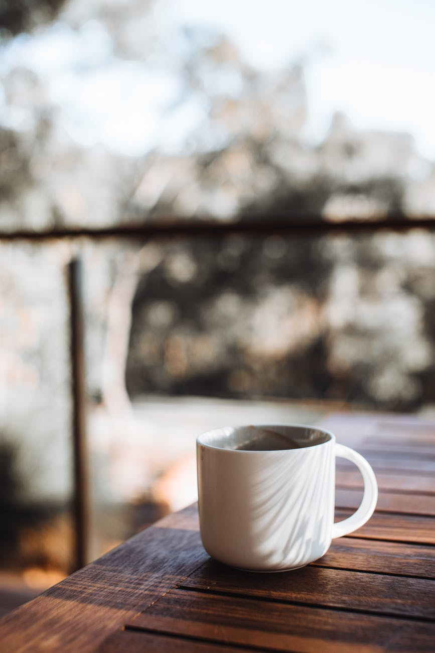 mug of coffee on wooden table